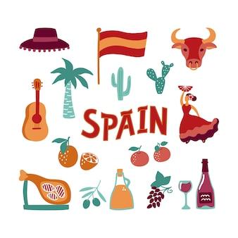 Coleção mão desenhados símbolos da espanha.