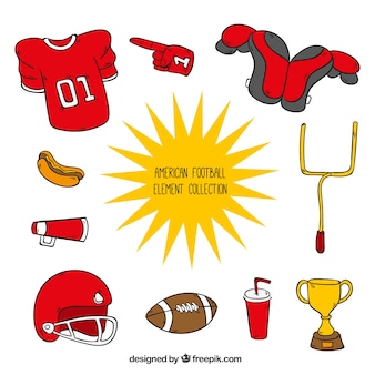 Coleção mão tirada acessórios de futebol americano