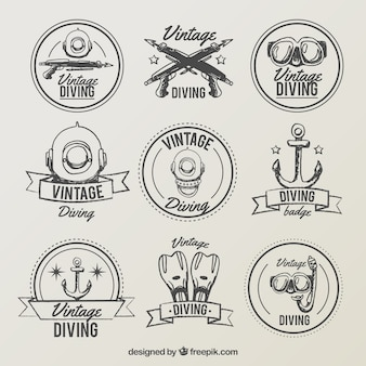 Coleção mão tirada etiqueta de mergulho do vintage