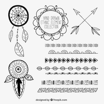 Coleção mão tirada ornamentos em estilo étnico