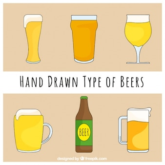 Coleção mão tirada tipos de cervejas