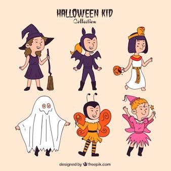 Coleção mão tirada trajes de halloween agradáveis