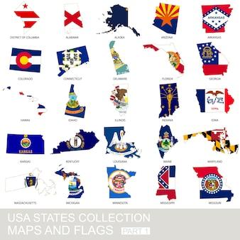 Coleção, mapas e bandeiras do estado dos eua, parte 1