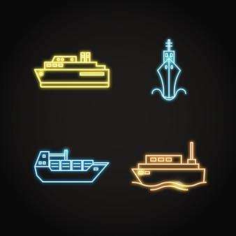 Coleção marinha de navio de néon