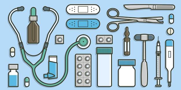 Coleção médica no conceito de design plano.