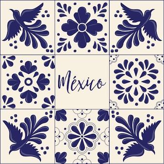 Coleção mexicana de azulejos talavera