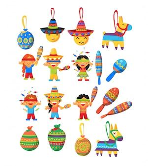Coleção mexicana de elementos de festa condicional