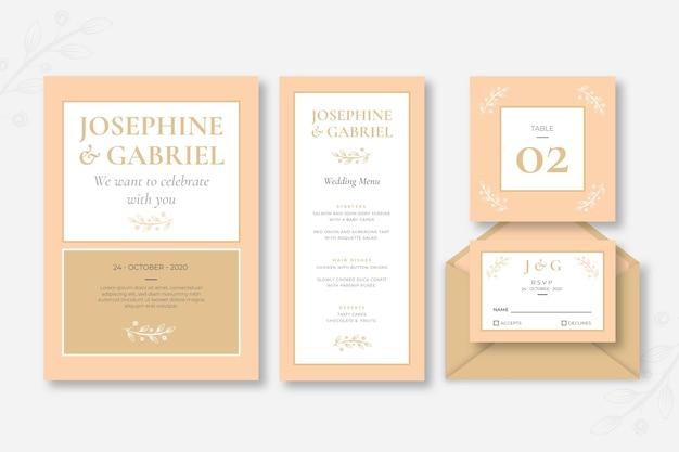 Coleção mínima de artigos de papelaria para casamento