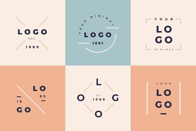 Coleção mínima de logotipo com cores pastel