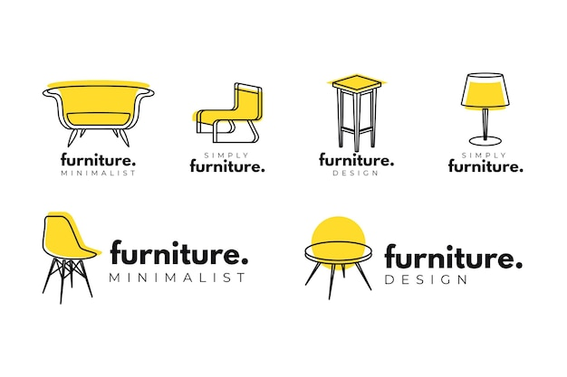 Coleção mínima de logotipo de móveis