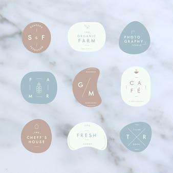 Coleção mínima de logotipo em tons pastel