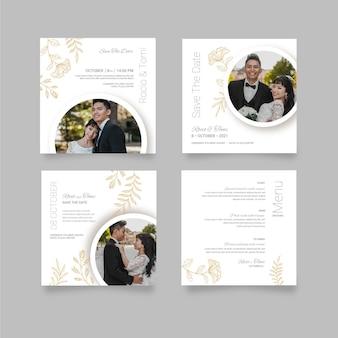 Coleção mínima de postagens de instagram de casamento