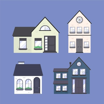 Coleção minimalista de casas diferentes