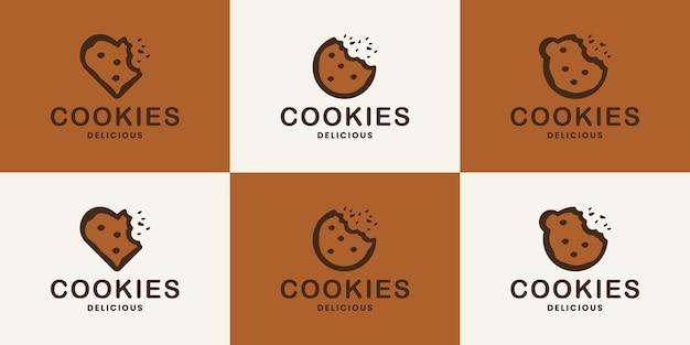 Coleção minimalista de design de logotipo de biscoitos de comida para restaurante, loja de biscoitos