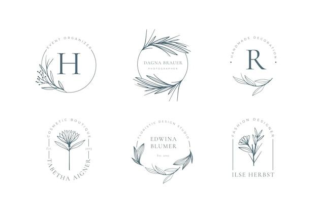 Coleção minimalista de logotipo floral