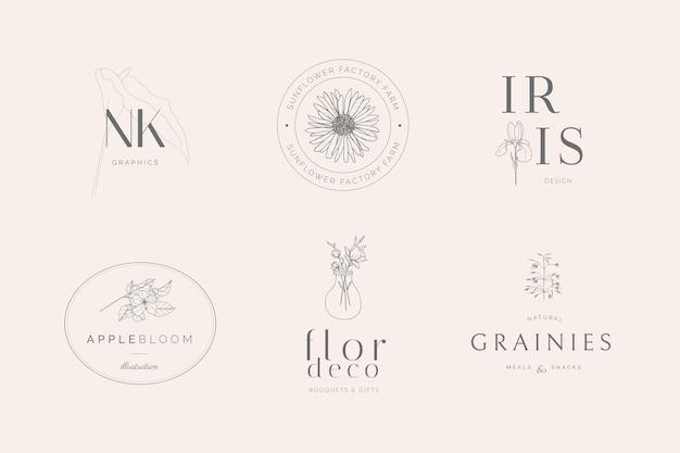 Coleção minimalista de logotipos femininos