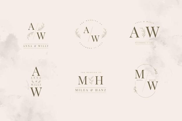 Coleção minimalista de modelos de logotipo com monograma de casamento