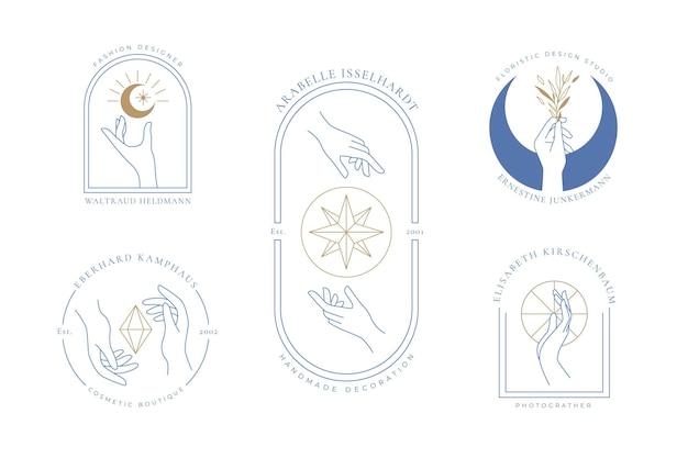 Coleção minimalista do logotipo das mãos