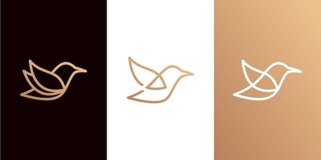 Coleção minimalista do logotipo do pássaro com estilo de arte de linha
