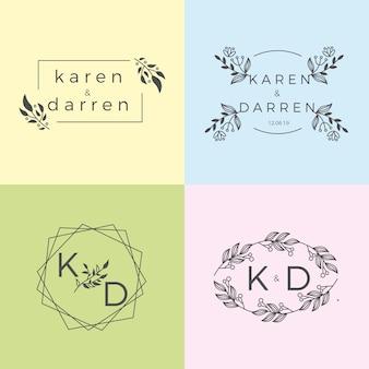 Coleção minimalista dos monogramas do casamento das cores pastel