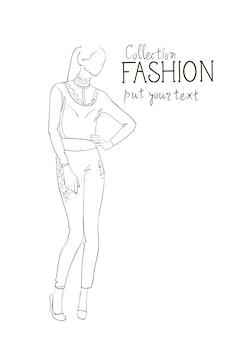 Coleção moda roupas modelo feminino vestindo roupas moda esboço