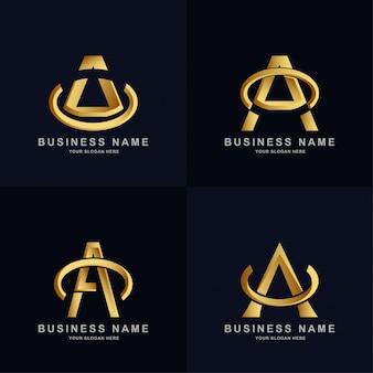 Coleção modelo de logotipo da letra a com elegante cor dourada