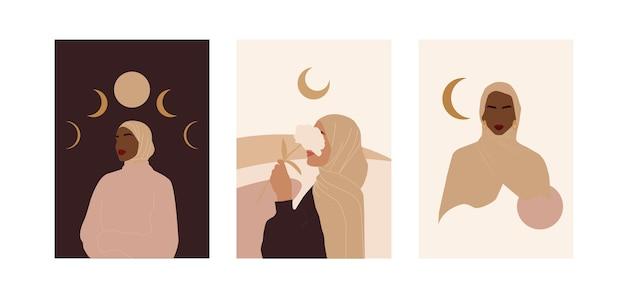 Coleção moderna abstrata com modernos cartazes muçulmanos para design decorativo. mulher de beleza hijab.