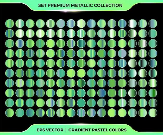 Coleção moderna colorida de gradiente de metal verde com paletas de metal pastel