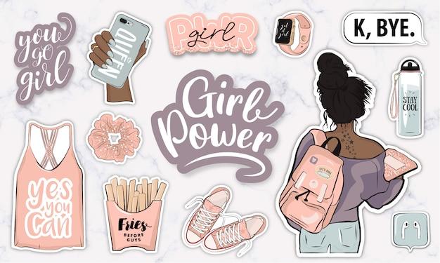 Coleção moderna de adesivos de poder feminino