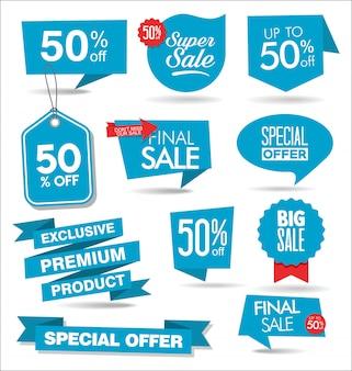 Coleção moderna de banners de venda azul