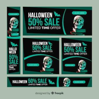 Coleção moderna de banners de venda de web de halloween