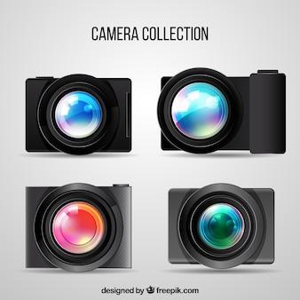 Coleção moderna de câmeras fotográficas