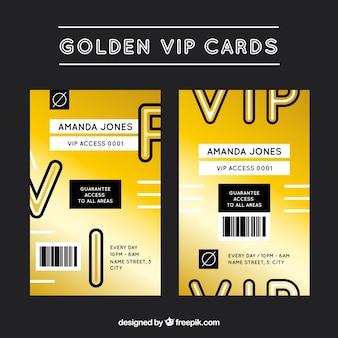 Coleção moderna de cartões vip dourados