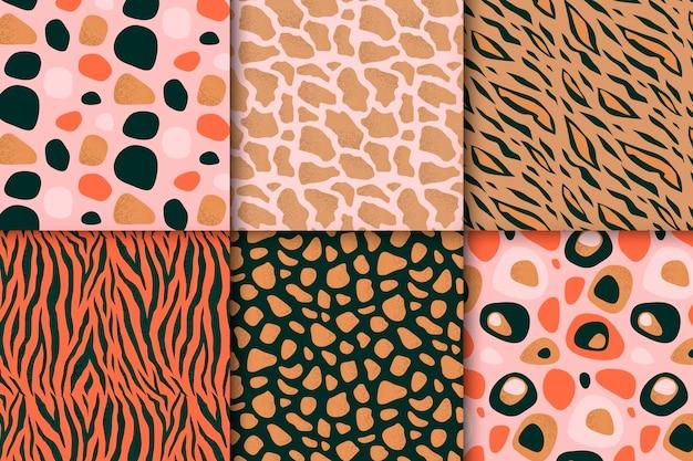Coleção moderna de estampas de animais