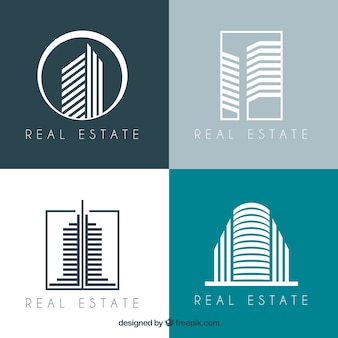 Coleção moderna de logotipos imobiliários
