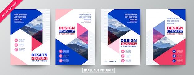 Coleção moderna de modelo de folheto azul e rosa
