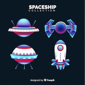 Coleção moderna de nave espacial com design plano