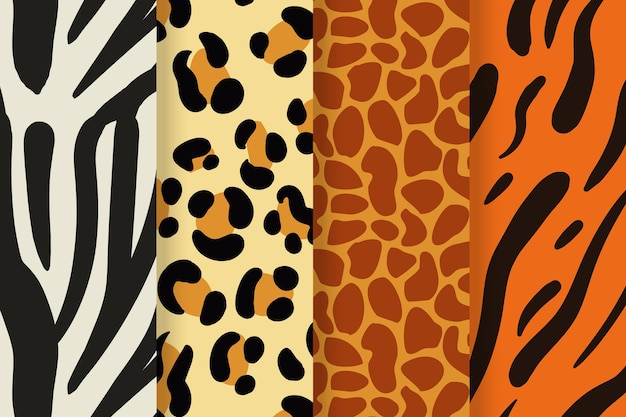Coleção moderna de padrões de estampas de animais