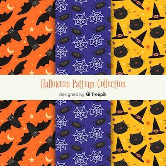 Coleção moderna de padrões de halloween