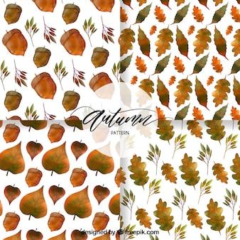 Coleção moderna de padrões de outono de aquarela