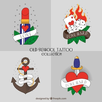 Coleção moderna de tatuagem da velha escola