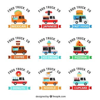 Coleção moderna do logotipo do caminhão de alimentos