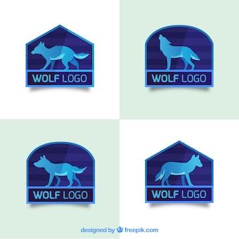 Coleção moderna do logotipo do lobo plano