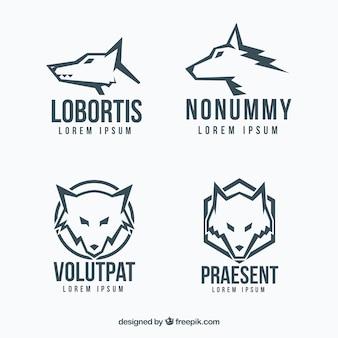 Coleção moderna do logotipo do lobo
