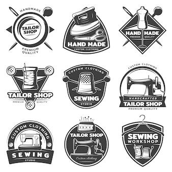 Coleção monocromática de distintivos tailor