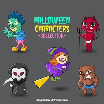 Coleção monstros colorido do dia das bruxas