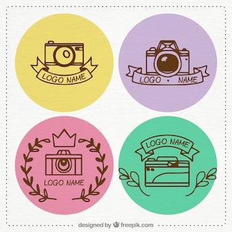 Coleção multicolor do logotipo da câmera