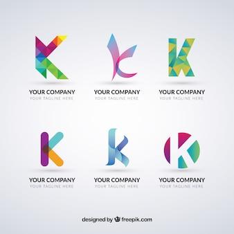 Coleção multicolor do logotipo da letra k