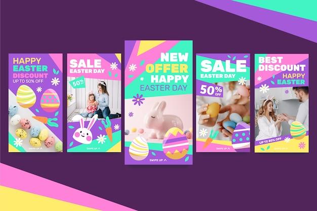 Coleção multicolorida de histórias do instagram do dia da páscoa
