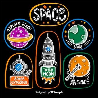 Coleção na etiqueta do espaço em design plano